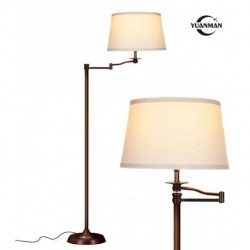 YUANMAN Swing Arm LED Floor Lamp- Classic Lamp with Extending Arm - Diffusing Lamp Shade - Tall Industrial Uplight for Living Room, Family Room, Office or Bedroom - Bronze