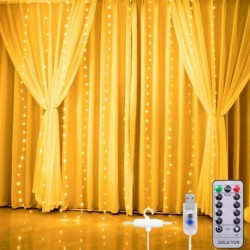 JUILA-YUN 280 LED Curtain Lights, 9.8 Ft by 9.8 Ft Curtain String Lights for Bedroom, Warm White Curtain Fairy Lights, 8 Lighting Modes, Remote Control for Hanging Window, Chrismas, Wedding, Party, Outdoor