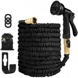 JUILA-YUN 50ft Expandable Garden Hose , Leakproof Lightweight Retractable Water Hose with Solid Brass Fittings, Extra Strength 3750D Durable Gardening Flexible Hose Pipe