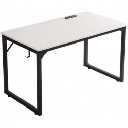 "JRSLAK Home Office Desk, Modern Industrial Simple Style Computer Desk, Workstation, Sturdy Writing Desk(39"", White)"