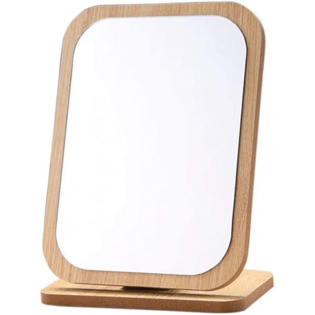 JRSLAK Rectangle Compact Table Mirror Standing Wood Framed Mirror Desktop Mirror 90 Degree Rotating Mirror for Makeup Cosmetic
