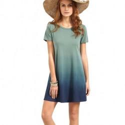 Women's Tunic Swing T-Shirt Dress Short Sleeve Tie Dye Ombre Dress[sample]