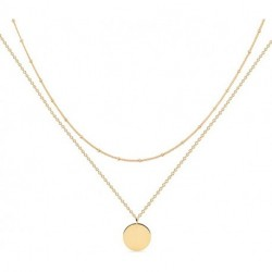 Essenrong Gold Layered Necklace,14K Gold Disc/Circle Bead Chain Dainty Elegant Simple Layer Necklace for Women