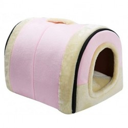 IEJ Velvet Self-Warming 2 in 1 Foldable Cave House Shape Nest Pet Sleeping Bed for Cats and Small Dogs