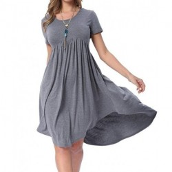 Womens Summer Short Sleeve High Low Pleated Swing Loose Casual Midi Dress[sample]