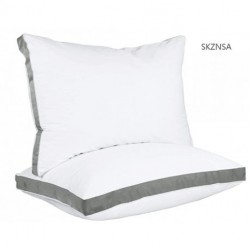 SKZNSA Gusseted Pillow (2-Pack) Premium Quality Bed Pillows - Side Back Sleepers - Grey Gusset - Queen - 18 x 26 Inches