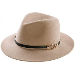 LOZAAO Womens Fedora Hat 100% Wool Wide Brim Felt Panama Sun Hats Vintage Trilby Cap with Buckle