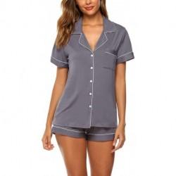 LOZAAO Womens Pajamas Set Short Sleeve Sleepwear Button Down Nightwear Shorts Soft Lounge Sets S-XXL