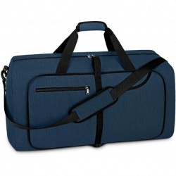 ERZUKU Travel Duffel Bag 65L Foldable Weekender Overnight Bags for Men Women Waterproof Sports Gym Bag with Shoes Compartment Holdall Weekend Bag Blue