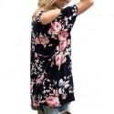 Women's Floral Print Cut Out Shoulder Short Sleeve T Shirt Blouse[sample]