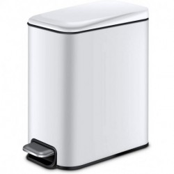 MNAFKT Small Bathroom Trash Can with Lid Soft Close and Removable Inner Wastebasket, Rectangular Slim Trash Can for Narrow Spaces at Home or Office, Anti-Fingerprint Finish, 5L/1.3Gal, White