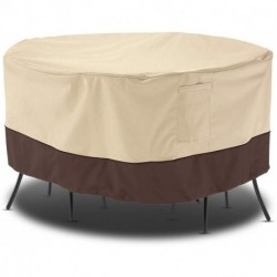 "DCGYBH Outdoor Furniture Set Cover, Patio Waterproof Table and Chair Cover, Heavy Duty Large Veranda Round Dining Table Cover with Air Vent, Weather Resistant, 94"" Dia, Beige & Brown"