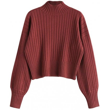 PVATGB Women's Mock Neck Long Sleeve Ribbed Knit Basic Pullover Sweater