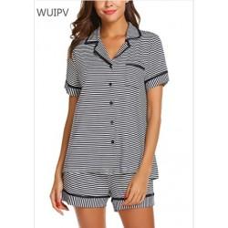 WUIPV Pajamas Soft Striped Women's Short Sleeve Button Sleepwear Shorts Shirt PJ Set