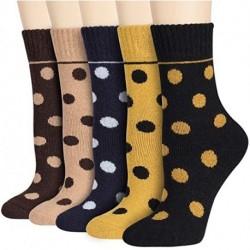 QIXULM Women's Winter Wool Socks Warm Soft Pattern Crew Socks (5 Pairs)