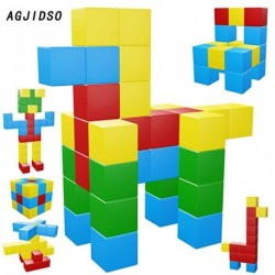 AGJIDSO Magnetic Blocks, 40 Pieces Magnetic Cubes, Innovative Magnetic Building Blocks for Kids, Autism Toys Magic Cube, Sensory Toys for Kids
