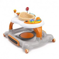 kepitc 3-in-1 Activity Walker and Rocker with Jumping Board and Feeding Tray, Interactive Walker with Toy Tray and Jumping Board for Toddlers and Infants- Orange