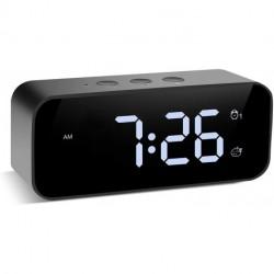 Ksbuul Modern Digital Alarm Clock, with USB Port for Charging, Voice Recording, 3 Brightness, 8 Alarm Sounds & 3 Alarm Volume, Small Led Desk Clock for Kids, Bedroom, Home, Office (Black)