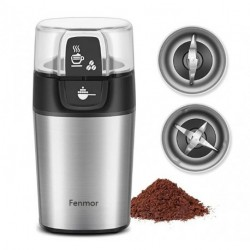 Electric Coffee Grinder, Fenmor Stainless Steel Spice Grinder Coffee Bean Grinder with 2 Removable Blade Bowls, 70g/12 Cups Large Capacity, 200W Great Power, Dry Wet Grinders for Nuts Seed Grains